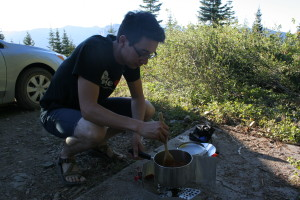 Cooking chili at the Lookout