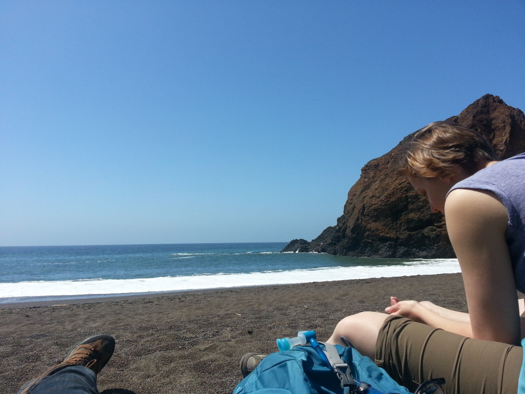 Em and I hanging out at Tennessee Valley Beach