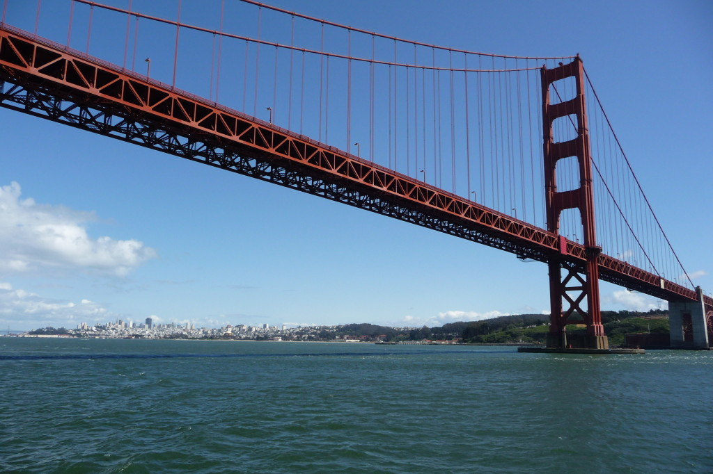 Golden Gate Bridge with San Francisco skyline.  April 26, 2012