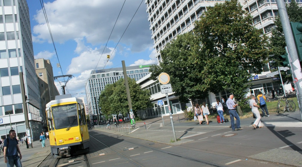 Berlin street scene snapped while cycling along Karl-Marx Strasse